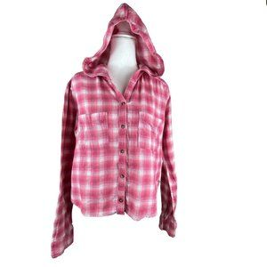 Hollister Pink Plaid Hooded Top Shirt Size Jrs L